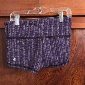 lululemon athletica Shorts - Lululemon purple & black pattern booty short sz 4
